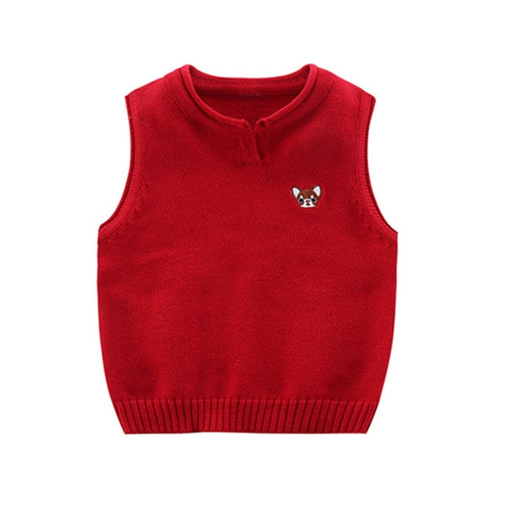 Mrsrui Boys' Sweater Vest School V-Neck Uniforms Pullover Sweaters Knitted Sleeveless Tank Clothes