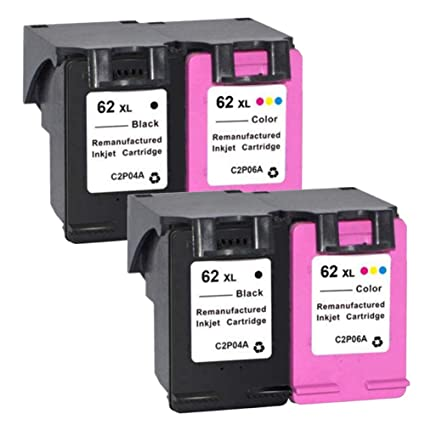 ouguan 4 x (2noir 2 Color) cartuchos de tinta HP 62 62 XL ...