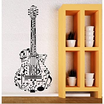 Lkfqjd Vinilo Tatuajes De Pared Guitarra Música Vinilos Decorativos Vinilo Instrumentos Musicales Home Art Mural Calidad Perfecta Etiqueta De Guitarra 57 ...
