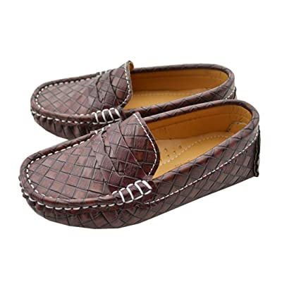 TDA Boy's Girl's Popular Design Checkered Slip On Leather Loafers Oxfords