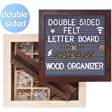 SOLEJAZZ Double Sided Felt Letter Board with Wooden Box, Gray & Black Changeable Message Board with Clean Cut Letters, Cursive Words + Stand for Quotes, Messages, Displays