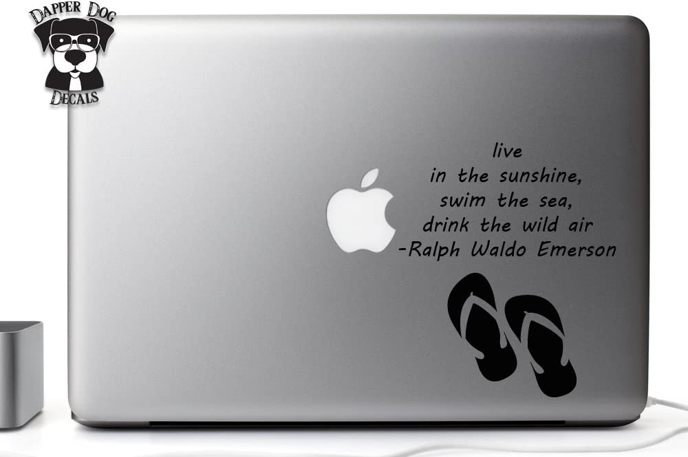Ralph Waldo Emerson Quote Flip Flops 5 Inches Vinyl Decal Sticker for MacBook Air Pro Laptop Notebook Auto Great Gift Mac PC Computer