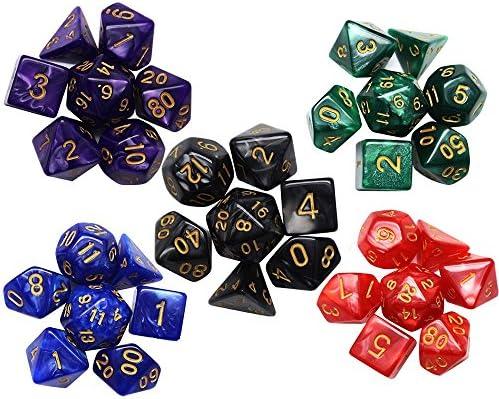 Hysagtek 35 Pcs Poliédrica Dados Fija para Calabozos y Dragones Red Black Blue Green Purple: Amazon.es: Hogar