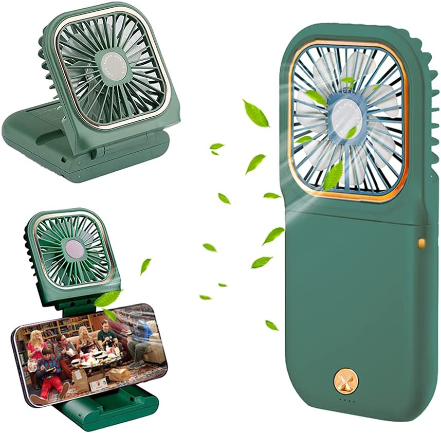 2021 Upgrade Handheld Fan, Small Personal Fan with 3 Speeds Neck Rechargeable Portable Fan, Powerful Mini USB Outdoor Fan Quiet Small Desk Fan Free Angle, Good for Travel Home Office School-Green