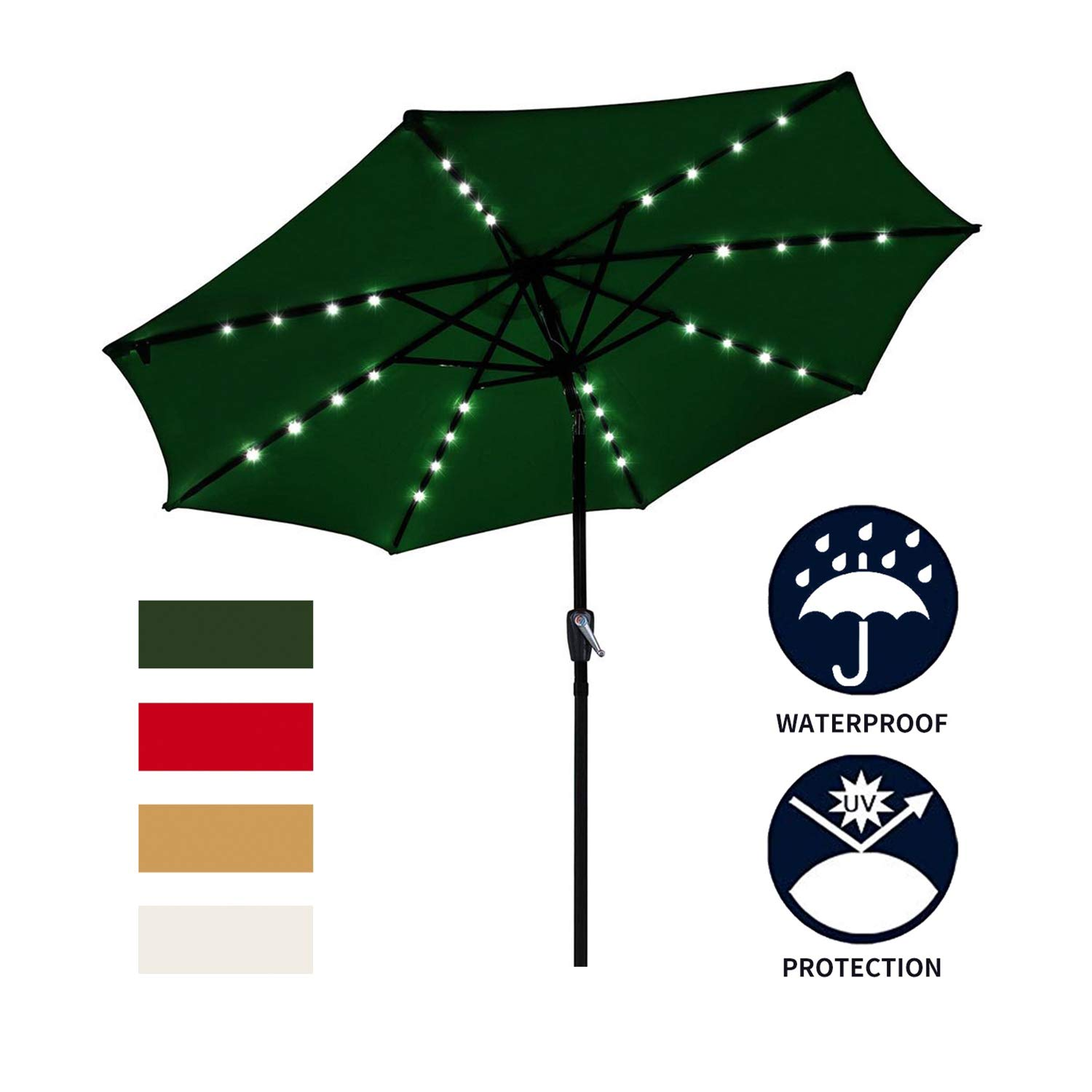 Ainfox 9ft Solar Patio Umbrella with LED Light, Steel Umbrella Ribs, Waterproof Prevent Bask in for Garden, Indoor, Outdoor Use Without Base (Green)