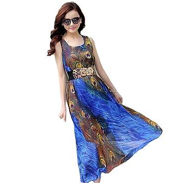 Womens Peacock Printed Paris Bohemian Summer Maxi Dress Plus size beach dress (S.,