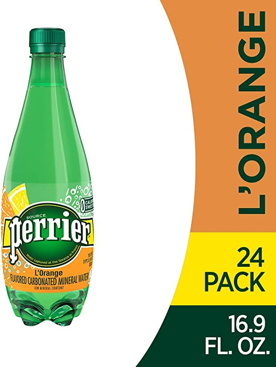 Perrier L'Orange Flavored Carbonated Mineral Water (Lemon Orange Flavor)