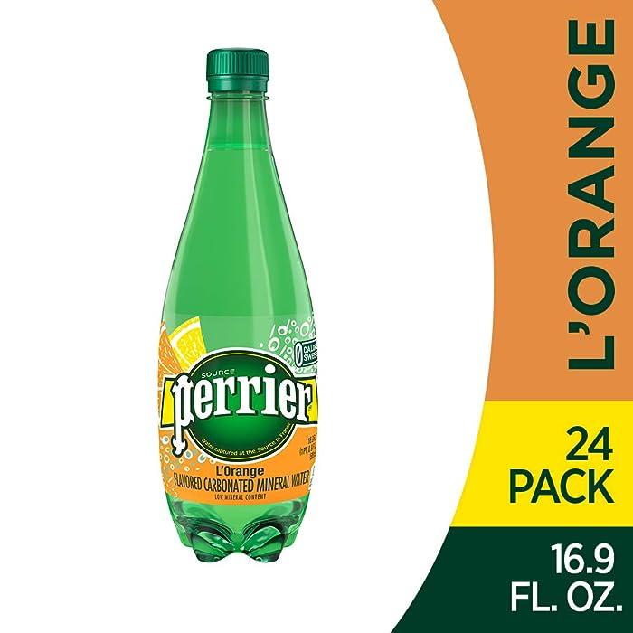 Perrier L'Orange Flavored Carbonated Mineral Water (Lemon Orange Flavor),. Plastic Bottles , 16.9 Fl Oz (Pack of 24)