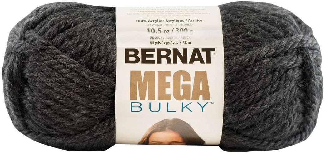Bernat Mega Bulky Yarn, 10.5 oz, Gauge 7 Jumbo, 100% Acrylic, Dark Grey Heather