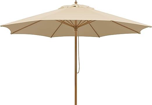 Schneider Parasol Malaga, Natural, Aprox. 300 cm Ø, 8 Piezas, Redondo: Amazon.es: Jardín