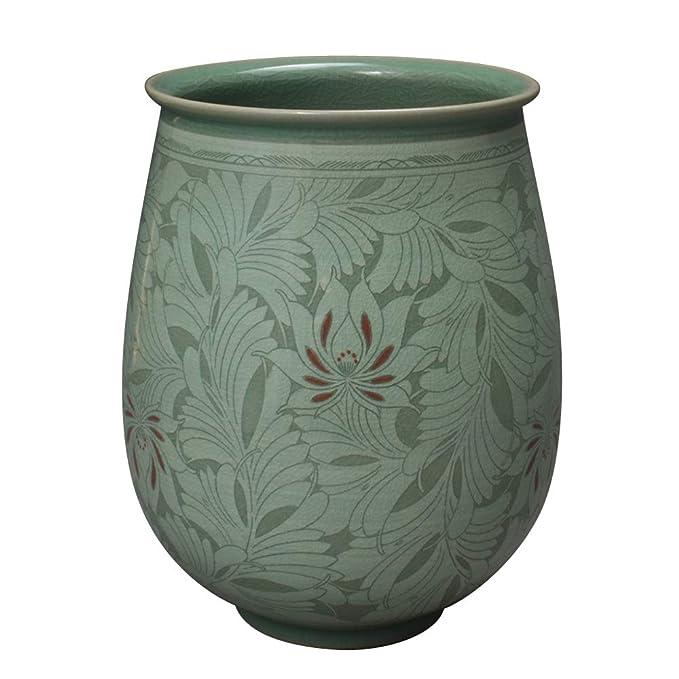 Korean Celadon Sgraffito Vase with Peony Flower Design