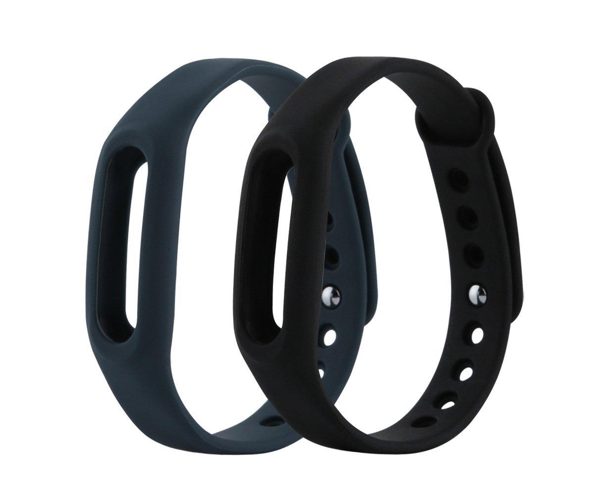 HONECUMI XiaoMi バンド カラフルな交換用リストバンド XiaoMi(トラッカーなし)用 B074PK3GQD Pack of2(Black,Grey)  Pack of2(Black,Grey)
