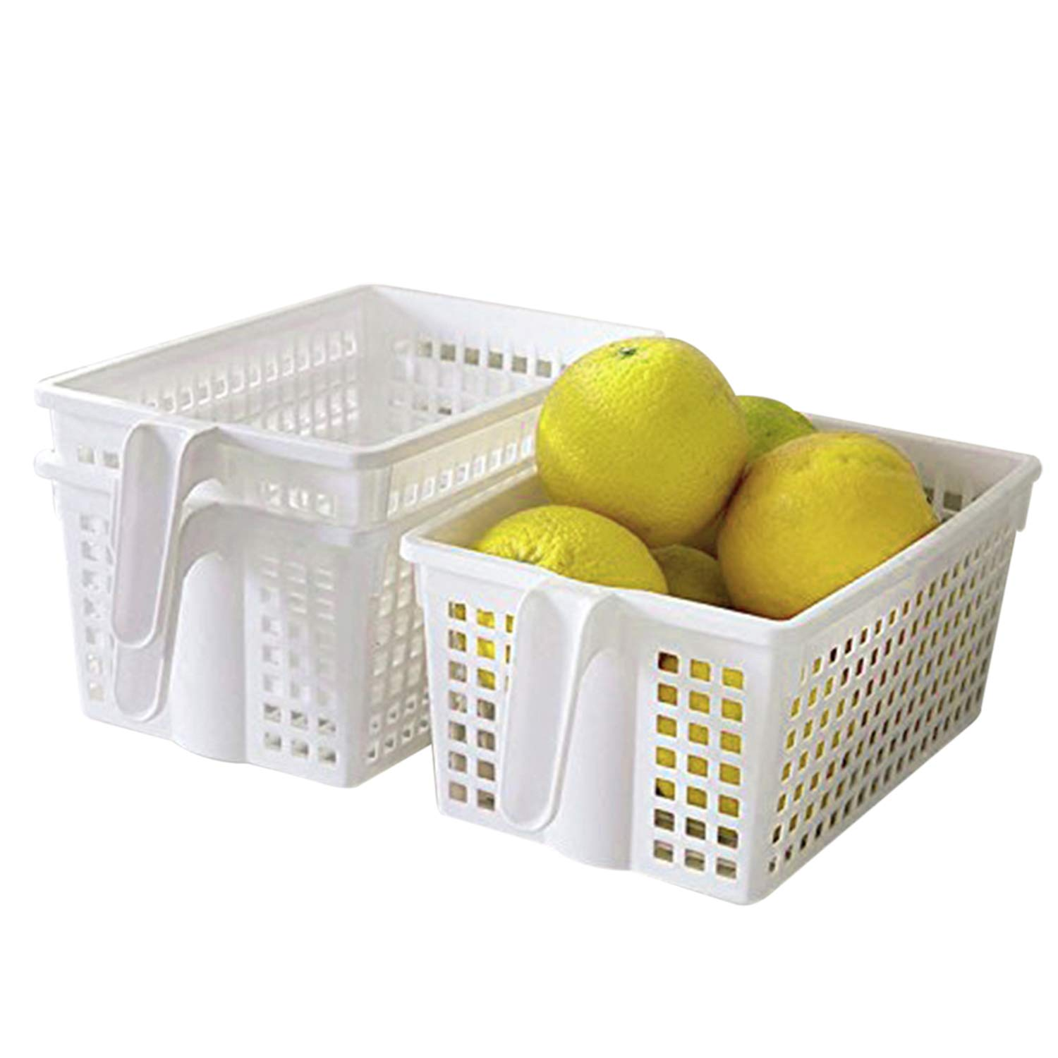 Kurtzy White Handy Storage Baskets/Boxes with handles Pack of 3 - Plastic Kitchen Organizers - Stackable Shelf Baskets for Bedroom, Office, Wardrobe, and Bathroom Containers 21x13x11 cm MA-4013
