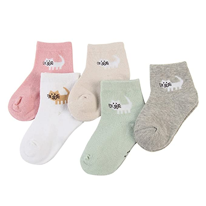 Zhhlaixing Paquete de 5 Unisexo Kids Moda Linda Calcetines Algodón Respirable Sin Costura Child Socks para