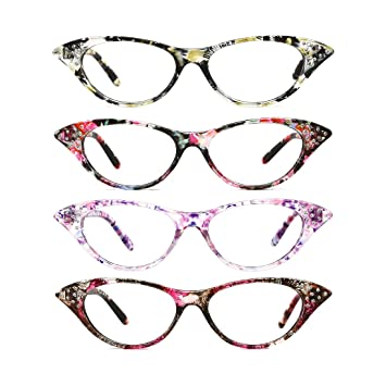 d60ad0c591a Amazon.com  TIJN 4 PACK of Cateye Reading Glasses for Women with ...