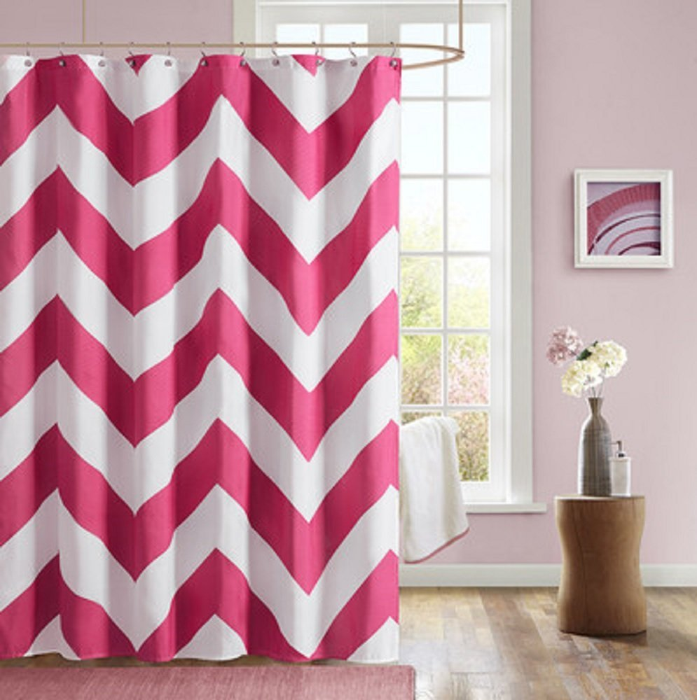 ... Microfiber Shower Curtain   Pink