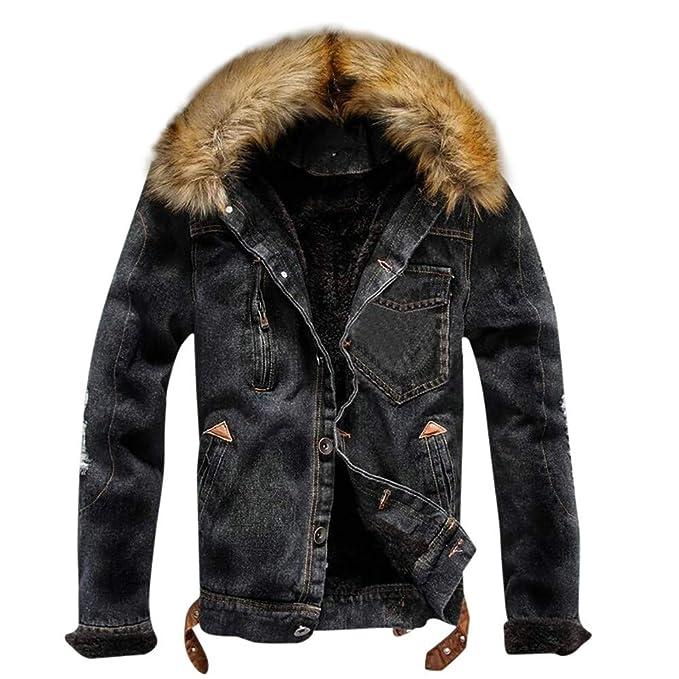 Yesmile ❤ Hombre Invierno Denim Abrigo, Inverno Casual Hombre Invierno Cazadoras De Plumas Calor
