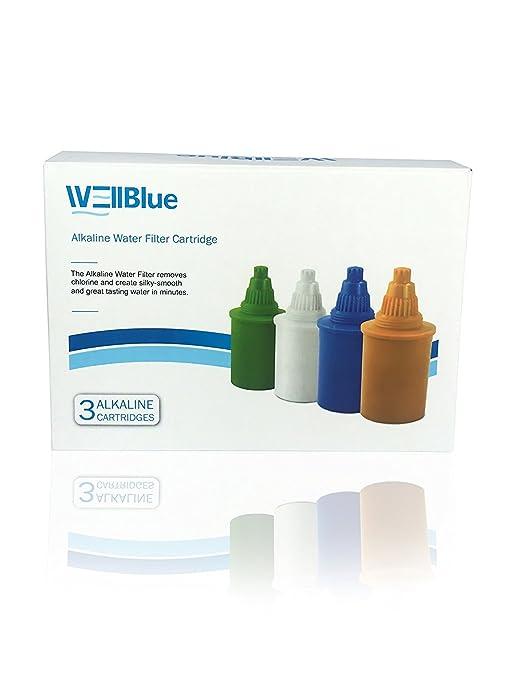Wessper Alkalischer Wasserkrug 3.5L Gesunder Ionisator mit Filterpatronen Blau