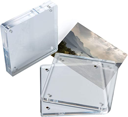 Double-faced Clear Crystal Photo Frame Desk Set Acrylic Magnet Picture