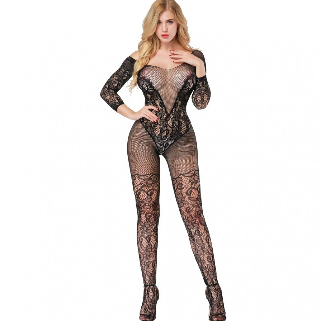 3e41308a7b angel3292 Embroidery Hollow Mesh Crotchless Women Bodystocking Sexy  See-through Bodysuit - Red  Amazon.ca  Health   Personal Care