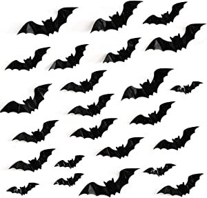 48 Pcs Halloween 3D Scary Black Bat Stickers PVC Bat Wall Decals for Home Window Decor Halloween Eve Party Supplies, Assorted Size