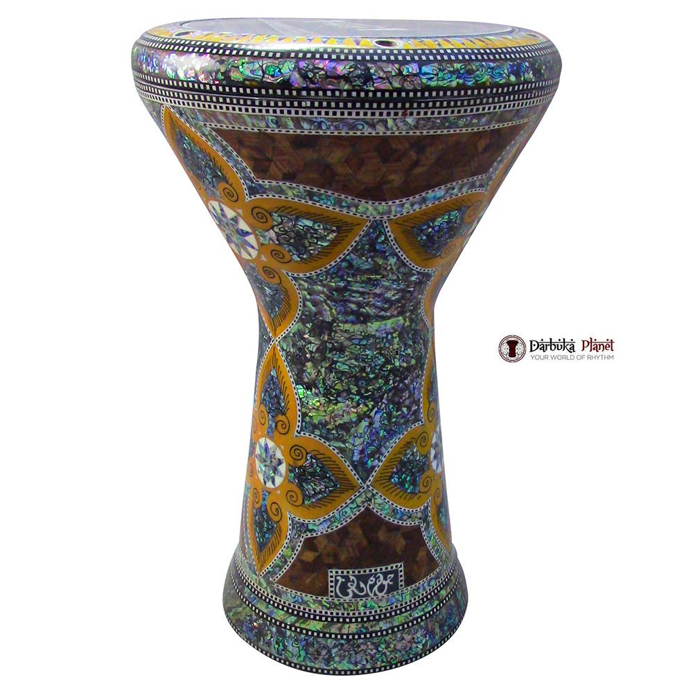 The''Andromeda'' Gawharet El Fan 18.5'' Darbuka Doumbek Drum Sombaty Size With Real Blue Mother of Pearl by Gawharet El Fan