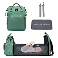 N/Y 3 in 1 Travel Bassinet Foldable Baby Bed Diaper Bag Backpack Changing Station for Men Women,Portable Bassinets for Baby Girls Boys, Travel Crib Infant Sleeper,Baby Nest with Mattress