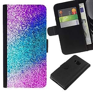 A-type (Teal Purple Sparkling Watercolor) Colorida Impresión Funda Cuero Monedero Caja Bolsa Cubierta Caja Piel Card Slots Para HTC One M7