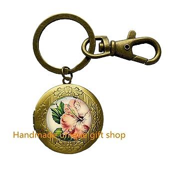 Amazon.com: Tinta hibisco llavero flores tropicales, joyas ...