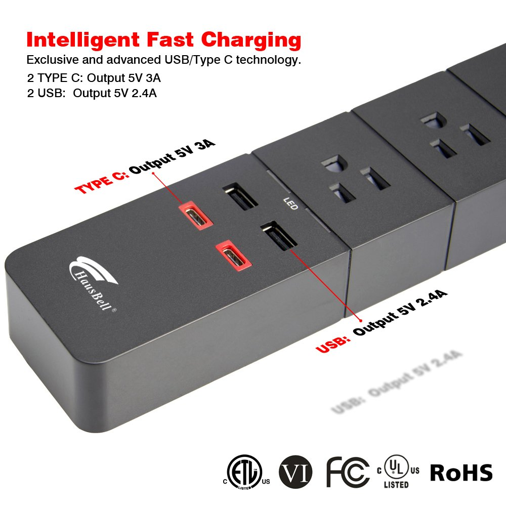 Power Strip with Type C and USB Ports Hausbell Surge Protector 8-Outlet 1750W Surge Protector Power Strip with 6A 4 USB Charging Station and 1.5M Long Power Cord, UL and ETL Listed (Black)