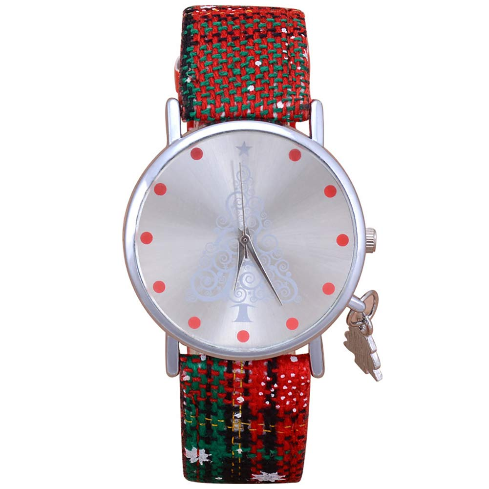 YaptheS 1PC Christmas Watch Women's Quartz Analog Wrist Watch with Pendant Cute Timer Xmas Gift for Girls(Christmas Tree) Christmas Style