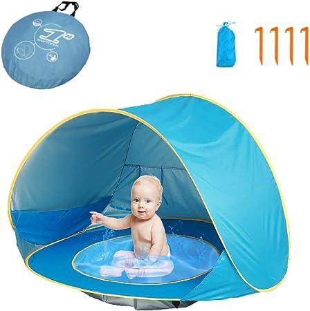 HUSAN Tienda de campaña portátil para bebés Playa, Instantáneas Tiendas Camping para niños, Piscina para Tienda de campaña Ligera UPF 50 + Refugio ...