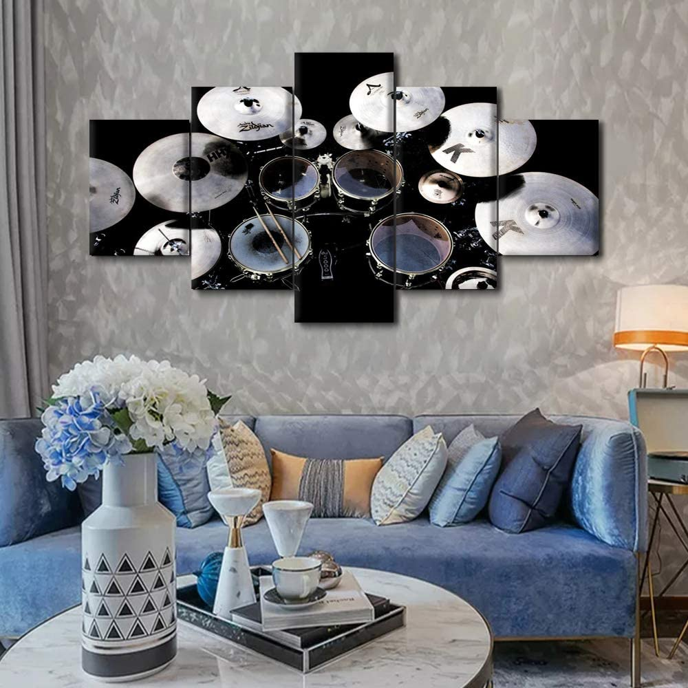5 Panels Music Canvas Art Wall Decor - Drummer View of Jazz Drum Kit in Black and White Background - Modern Home Art Decorations Rock Musical Instrument Stretched and Framed Ready to Hang(60