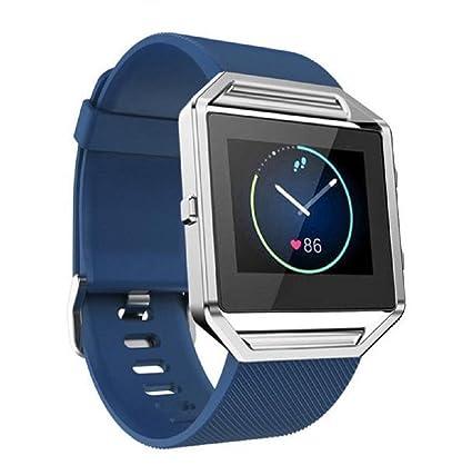 Para Fitbit Blaze Reloj inteligente Banda Sannysis Correa de Silicona Reemplazo de Banda (Azul)