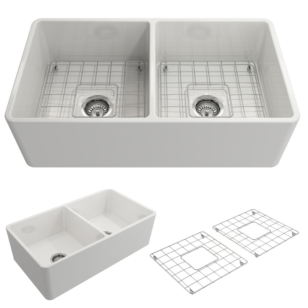 BOCCHI 1139-001-0120 Classico Apron Front Fireclay 33 in. Double Bowl Kitchen Sink with Protective Bottom Grid and Strainer in White
