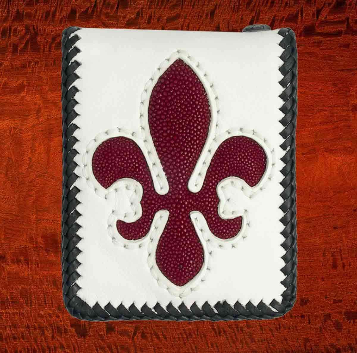 White Cowhide Bifold Wallet w//Red Stingray Fleur de lis