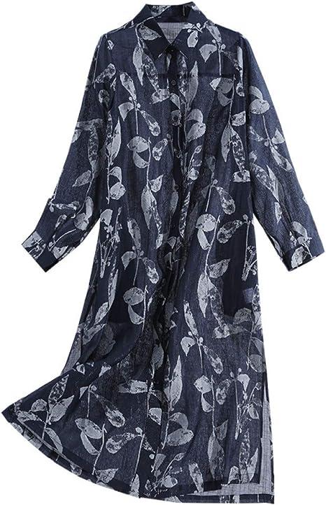 BINGQZ Casual Vestido Camisa Larga de Mujer sobre la Rodilla, Vestido Midi Fino, Falda de Camisa de Solapa Impresa de Primavera y Verano para Mujer: Amazon.es: Deportes y aire libre