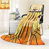 YOYI-HOME Lightweight Summer Duplex Printed Blanket,Ball and Hoop Madness Rim Court Parquet Hardwood Picture Print Ivory Orange Black Bed,Sofa, Air-Conditioner Room /W79 x H59