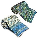 Little India Printed 2 Piece Cotton Razai Quilt Set 1 Multicoloured