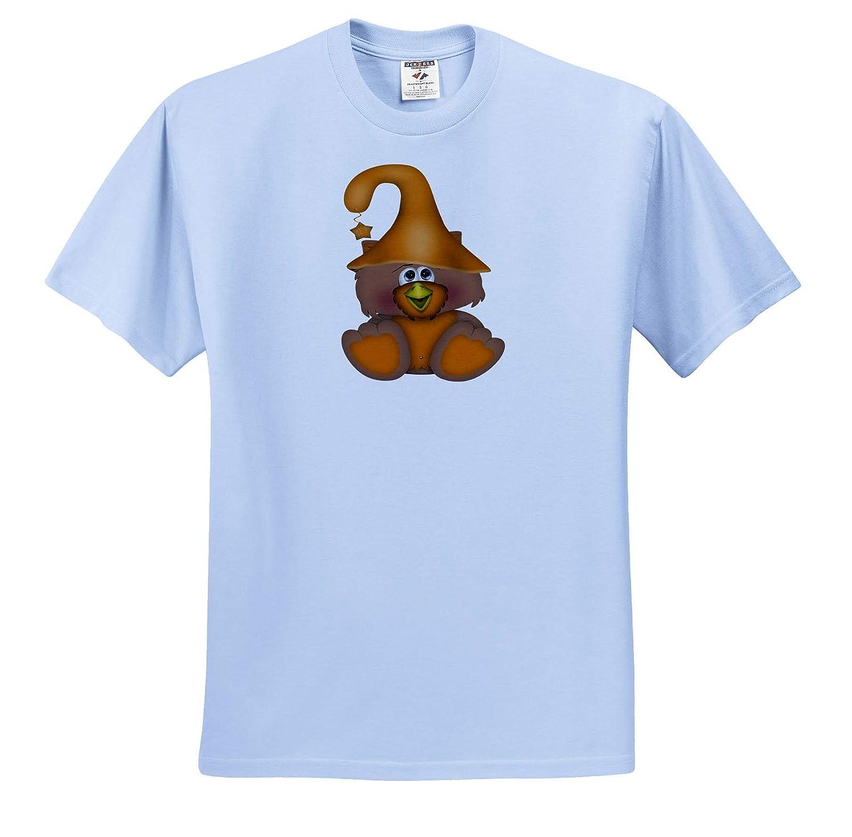 Illustrations ts/_317968 Cute Orange Halloween Witch Owl Illustration 3dRose Anne Marie Baugh Adult T-Shirt XL