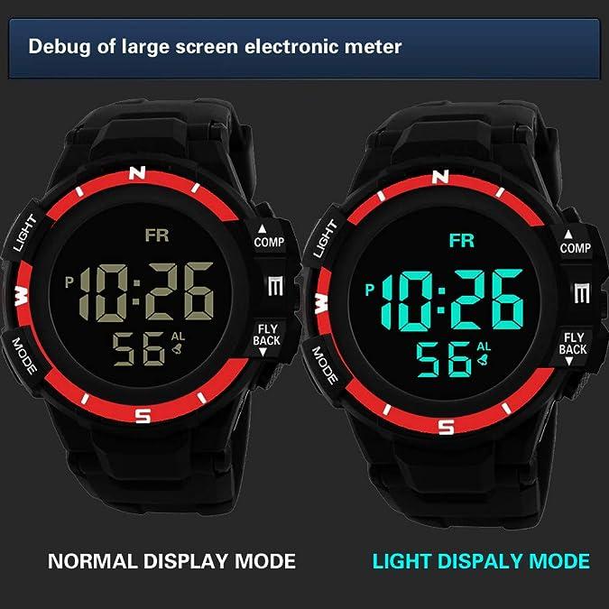 Amazon.com: XGUMAOI Men Analog Digital Watches Military Army Sport Wristwatch LED Waterproof Wrist Watch (Red): Jewelry