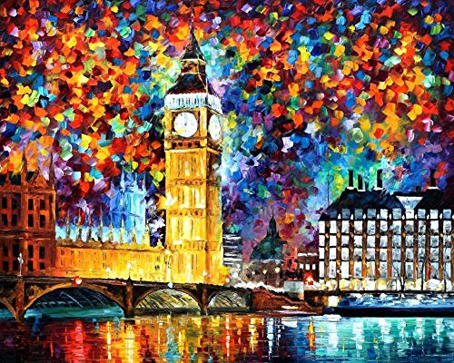 Paint by Numbers for Adults Kits Canvas DIY Acrylic Oil Painting Frameless-London Big Ben 16 x 20 Inches