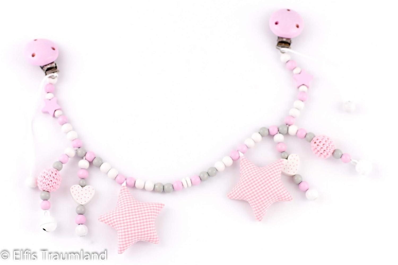 Kinderwagenkette // Herzen Sterne Stoffsterne // rosa weiß // Mädchen