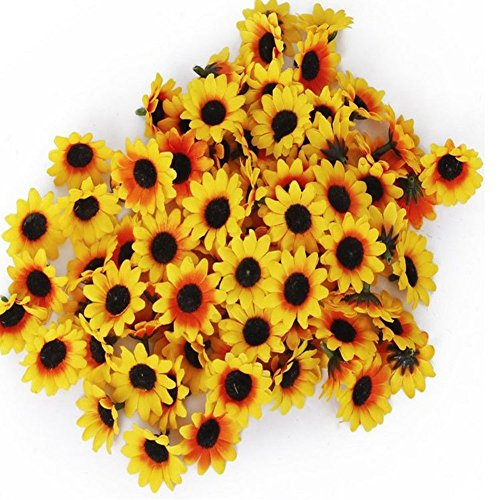 100pcs- Fake Sunflower Heads Artificial Flowers Sunflower Heads Floral Supplies Wholesale for Wedding Flowers (Fake Sunflowers In Bulk)