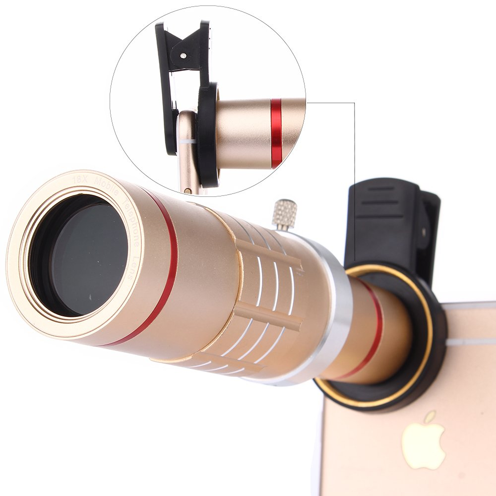 Camera Lens Kit, Universal 18X Zoom HD Clip On Mobile Phone Optical Camera Lens Kits, WMTGUBU Telescope Telephoto lens+15X Super Macro Lens+0.6X Wide Angle Lens for Samsung most Android Smartphones(Black) DN0034 SKU: DN0034-Blackk