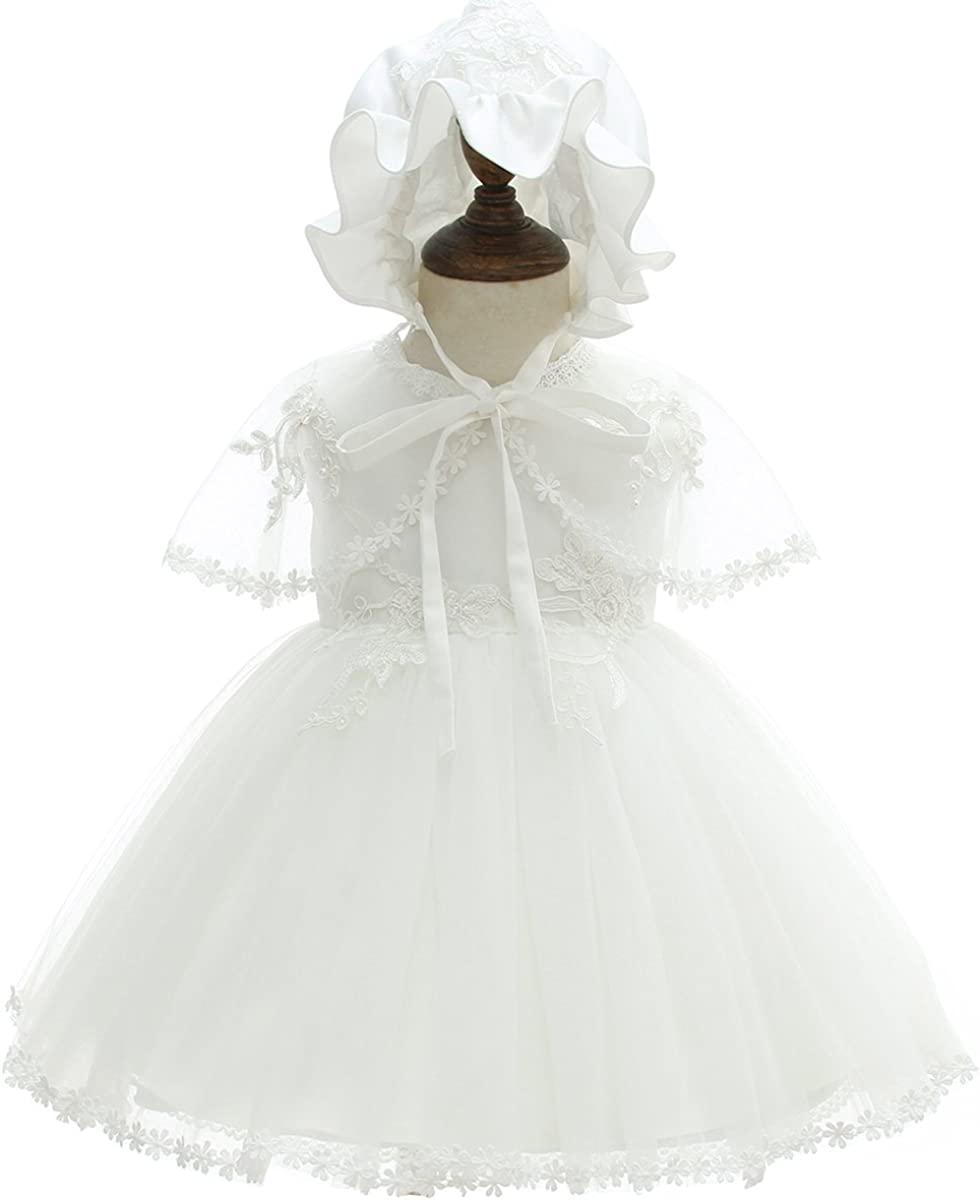 AHAHA TaufeKleid f/ür Baby M/ädchen Prinzessin Brautkleider f/ür Baby mit Hut und Tippet