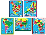 Continent Puzzle Combo Pack (171 Pieces in 5 Puzzles)