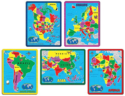 Kids Map Continents - Continent Puzzle Combo Pack (171 Pieces in 5 Puzzles)