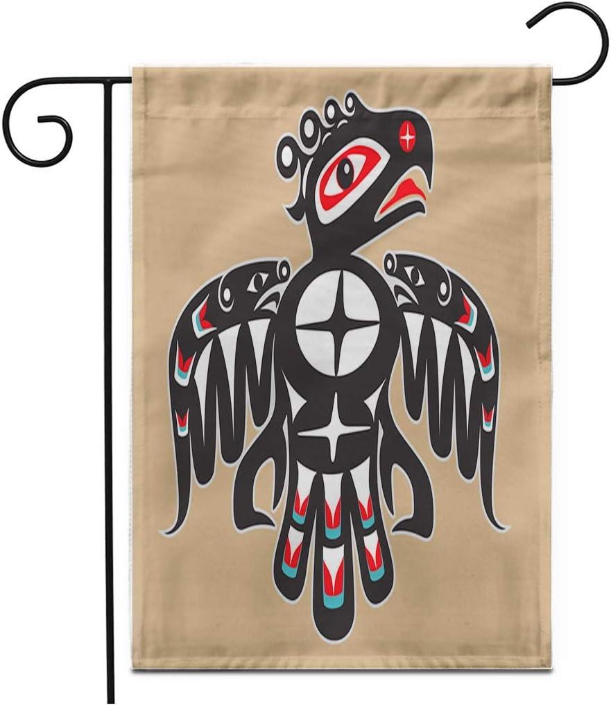 "Adowyee 12""x 18"" Garden Flag Haida Thunderbird Native American Tribal North Pattern Traditional Animal Outdoor Double Sided Decorative House Yard Flags"