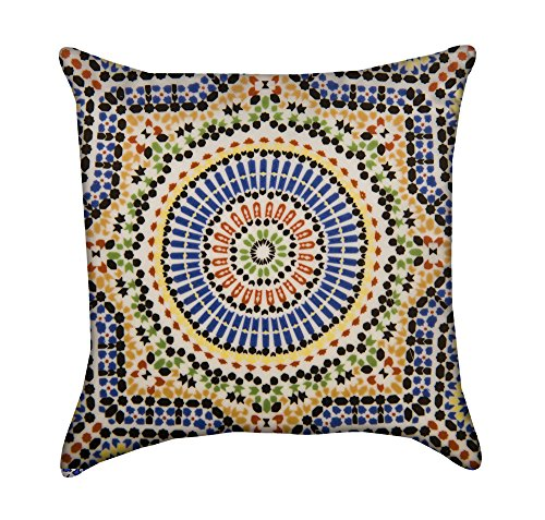 Colorful Moroccan Tile Throw Pillow by Chickadee Décor